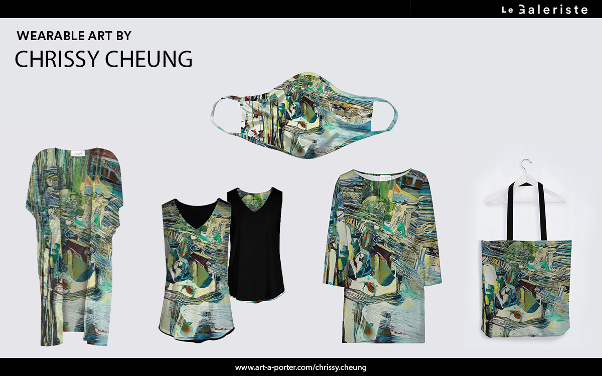 Art wearables by le galeriste working with artist Chrissy Cheung