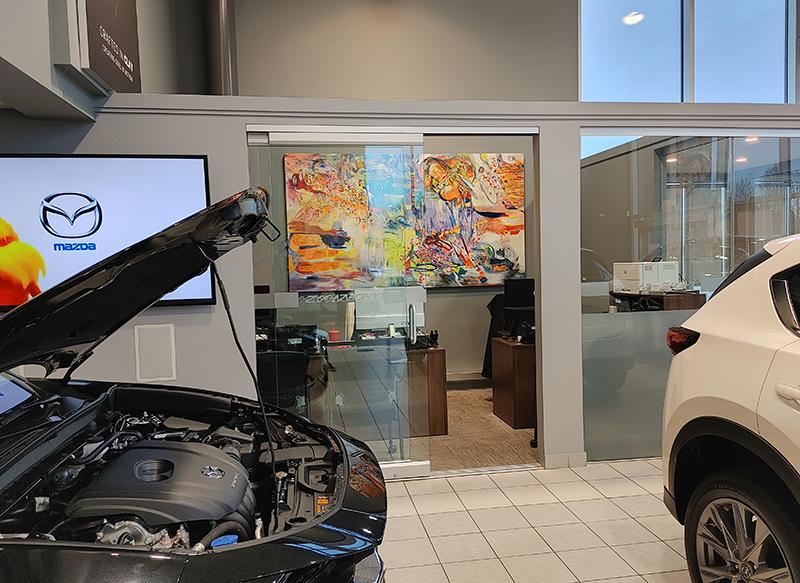 "Chrissy Cheung's artwork ""Piquant"" at Signature Mazda Dealership, Richmond"